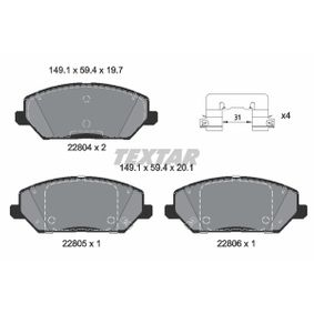 Brake Pad Set, disc brake Width: 149,1mm, Height: 59,4mm, Thickness 1: 19,7mm, Thickness 2: 20,1mm with OEM Number 58101 G4A10