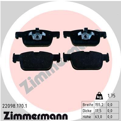 ZIMMERMANN  22098.170.1 Bremsbelagsatz, Scheibenbremse Breite: 155mm, Höhe: 63mm, Dicke/Stärke: 17mm
