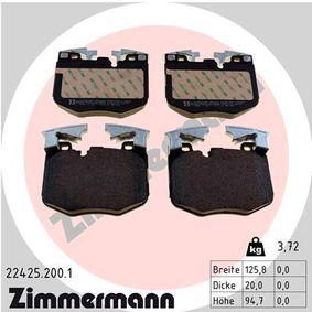 Bremsbelagsatz, Scheibenbremse Breite: 125,9mm, Höhe: 94,8mm, Dicke/Stärke: 20mm mit OEM-Nummer 34116888457