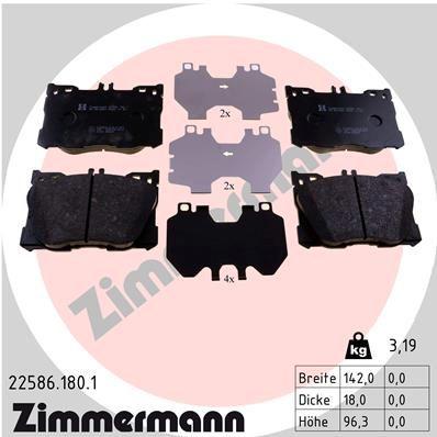 ZIMMERMANN  22586.180.1 Bremsbelagsatz, Scheibenbremse Breite: 142mm, Höhe: 96mm, Dicke/Stärke: 18mm