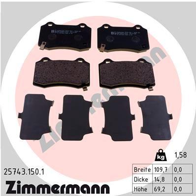 ZIMMERMANN  25743.150.1 Bremsbelagsatz, Scheibenbremse Breite: 110mm, Höhe: 69mm, Dicke/Stärke: 15mm