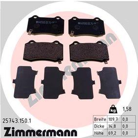 Bremsbelagsatz, Scheibenbremse Breite: 109,7mm, Höhe: 69,2mm, Dicke/Stärke: 14,8mm mit OEM-Nummer 68144 432AA