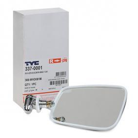TYC Side view mirror Right, form manual mirror adjustment, Plan, Chromed, Chrome