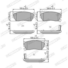 Bremsbelagsatz, Scheibenbremse Höhe 1: 47mm, Dicke/Stärke: 16,5mm mit OEM-Nummer 41060-62C90