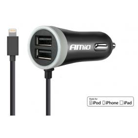 Autós mobiltelefon töltő Kimenő áramerősség: 2x 1.2A, Bemeneti fesz.: 12V, 24V 02057