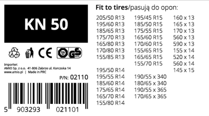 Snow chains AMiO 02110 rating