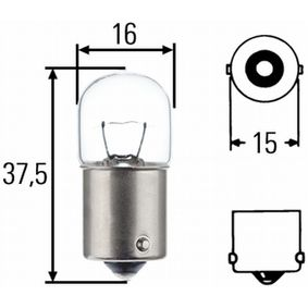 Bulb, park- / position light R5W, BA15s, 12V, 5W 8GA 002 071-353