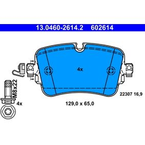 Brake Pad Set, disc brake Width: 129,0mm, Height: 65,0mm, Thickness: 16,9mm with OEM Number 4M0 698 451 P