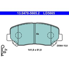 Bremsbelagsatz, Scheibenbremse Breite: 141,8mm, Höhe: 61,0mm, Dicke/Stärke: 15,8mm mit OEM-Nummer 25564 ATE