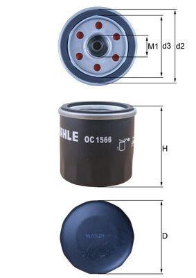 KNECHT  OC 1566 Ölfilter Ø: 65,3mm, Ø: 65,3mm, Höhe: 67mm