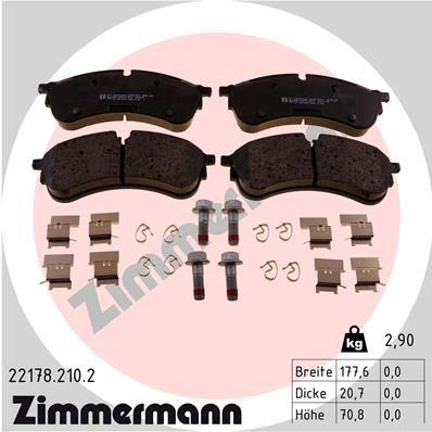 ZIMMERMANN  22178.210.2 Brake Pad Set, disc brake Width: 178mm, Height: 71mm, Thickness: 21mm