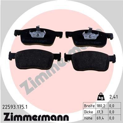ZIMMERMANN  22593.175.1 Bremsbelagsatz, Scheibenbremse Breite: 180mm, Höhe: 69mm, Dicke/Stärke: 17mm