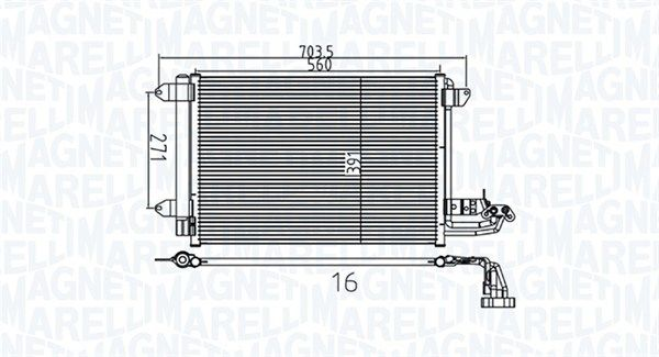 MAGNETI MARELLI  350203737000 Kondensator, Klimaanlage Netzmaße: 560x391x16