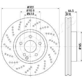 Disco freno Spessore disco freno: 32mm, N° fori: 5, Ø: 322mm con OEM Numero A 000 421 30 12