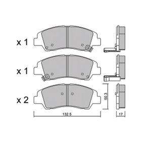 Bremsbelagsatz, Scheibenbremse Breite: 132,5mm, Höhe: 50,3mm, Dicke/Stärke: 17mm mit OEM-Nummer 58101B4A00