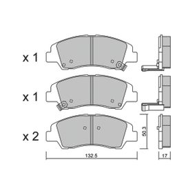 Bremsbelagsatz, Scheibenbremse Breite: 132,5mm, Höhe: 50,3mm, Dicke/Stärke: 17mm mit OEM-Nummer 58101-B4A00