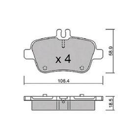 Bremsbelagsatz, Scheibenbremse Breite: 106,4mm, Höhe: 58,9mm, Dicke/Stärke: 18,5mm mit OEM-Nummer A007 420 9420