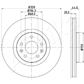 Brake Disc Brake Disc Thickness: 28mm, Num. of holes: 5, Ø: 320mm with OEM Number 40206-0003R