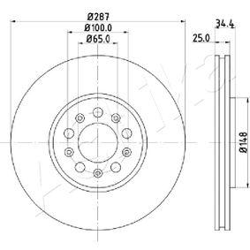 Bremsscheibe Bremsscheibendicke: 25mm, Lochanzahl: 5, Ø: 288mm mit OEM-Nummer 1J0615301K