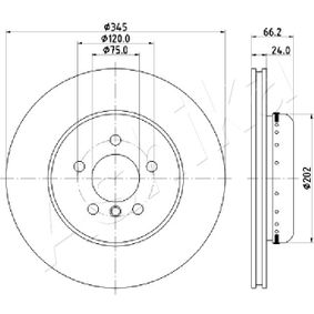 Brake Disc Brake Disc Thickness: 24mm, Num. of holes: 5, Ø: 345mm with OEM Number 34206797607
