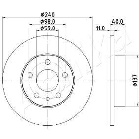 Bremsscheibe Bremsscheibendicke: 11mm, Lochanzahl: 5, Ø: 240mm mit OEM-Nummer 60670804
