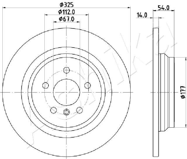 ASHIKA  61-00-0521 Bremsscheibe Bremsscheibendicke: 14mm, Lochanzahl: 5, Ø: 325mm