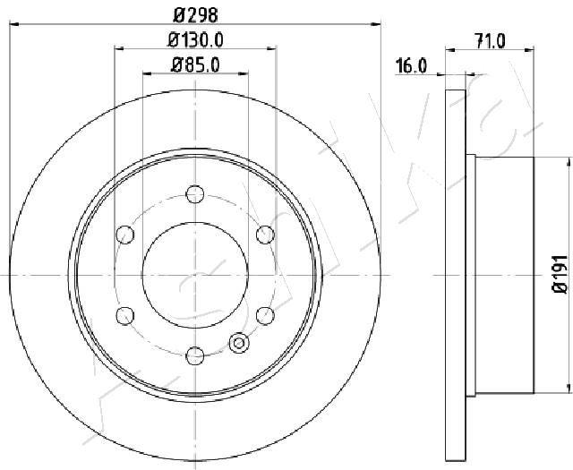 ASHIKA  61-00-0527 Bremsscheibe Bremsscheibendicke: 16mm, Lochanzahl: 6, Ø: 298mm