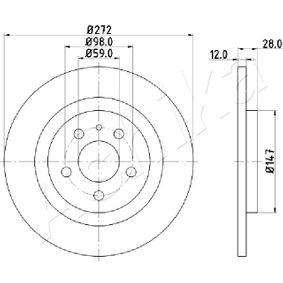 Bremsscheibe Bremsscheibendicke: 12mm, Lochanzahl: 5, Ø: 272mm mit OEM-Nummer E169153