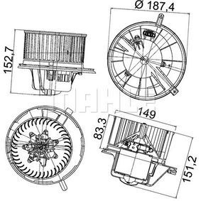 Interior Blower with OEM Number 1K1 819 015