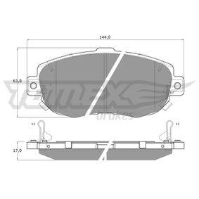 Bremsbelagsatz, Scheibenbremse Breite: 144mm, Höhe: 63,8mm, Dicke/Stärke: 17mm mit OEM-Nummer 04465-22310