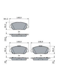 Brake Pad Set, disc brake Width: 148,9mm, Height: 59,2mm, Thickness: 19,6mm with OEM Number 58101 G4A10