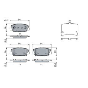 Brake Pad Set, disc brake Width: 141mm, Height: 60mm, Thickness: 17,8mm with OEM Number 583024WA10(-)