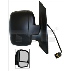TYC Side view mirror Right, Convex, Electronically foldable, for electric mirror adjustment, Heated, with thermo sensor, Black