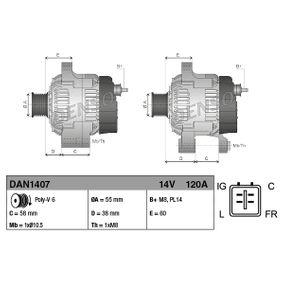 DENSO  DAN1407 Generator Rippenanzahl: 6