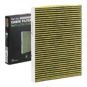 Filter, Innenraumluft Länge: 283mm, Breite: 206mm, Höhe: 30mm mit OEM-Nummer JZW 819 653