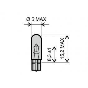 Glühlampe, Instrumentenbeleuchtung T5, 12V, 1.2W 24 651 0245
