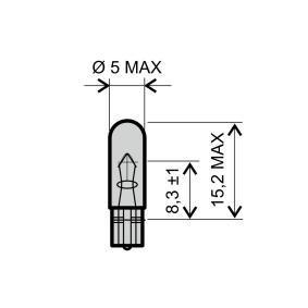 Glühlampe, Instrumentenbeleuchtung T5, 12V, 2W 24 651 0255