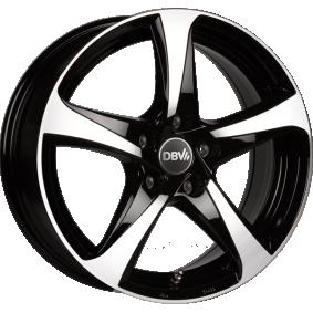alloy wheel DBV 5SP 001 mattschwarz Front poliert 15 inches 5x100 PCD ET38 DA5GI38BGP