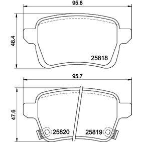 Bremsbelagsatz, Scheibenbremse Breite 1: 95,7mm, Breite 2: 95,8mm, Höhe 1: 48,2mm, Höhe 2: 47,6mm mit OEM-Nummer 77367914
