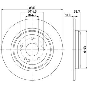 HELLA Brake disc kit Solid, Coated, without wheel hub, without wheel studs