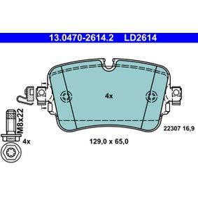 Brake Pad Set, disc brake Width: 129,0mm, Height: 65,0mm, Thickness: 16,9mm with OEM Number 4M0 698 451P