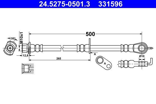 Bremsschläuche 24.5275-0501.3 ATE 331596 in Original Qualität