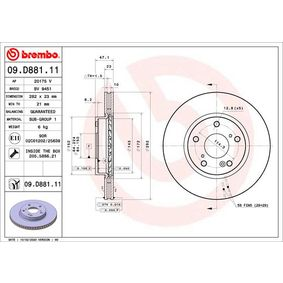 Brake Disc Brake Disc Thickness: 23mm, Num. of holes: 5, Ø: 282mm with OEM Number 45251 TBAA00