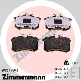 Bremsbelagsatz, Scheibenbremse Breite: 87,00mm, Höhe: 52,8mm, Dicke/Stärke: 15,2mm mit OEM-Nummer 440606133R