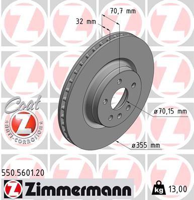 ZIMMERMANN  550.5601.20 Bremsscheibe Bremsscheibendicke: 32mm, Felge: 5-loch, Ø: 355mm