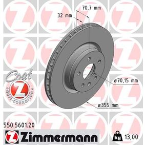 Bremsscheibe Bremsscheibendicke: 32mm, Felge: 5-loch, Ø: 355mm mit OEM-Nummer 1025099
