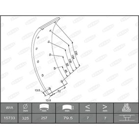 Bremsbelagsatz, Trommelbremse mit OEM-Nummer 15733
