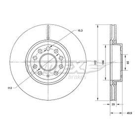 Bremsscheibe Bremsscheibendicke: 25mm, Lochanzahl: 9, Ø: 312mm mit OEM-Nummer JZW 615 301 H