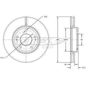 Bremsscheibe Bremsscheibendicke: 26mm, Lochanzahl: 5, Ø: 280mm mit OEM-Nummer 51712-2C-000