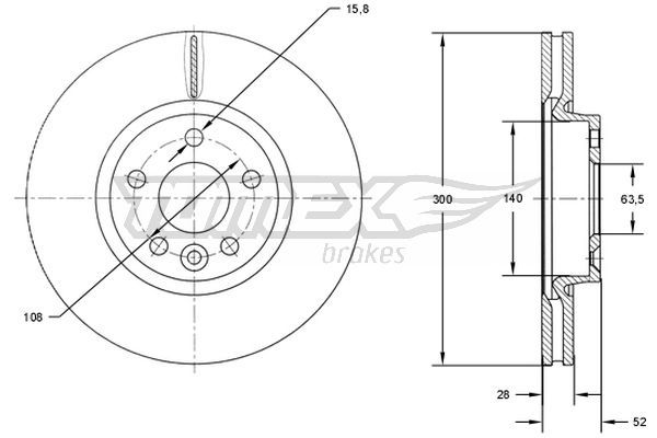 TOMEX brakes  TX 71-56 Bremsscheibe Bremsscheibendicke: 28mm, Lochanzahl: 5, Ø: 300mm